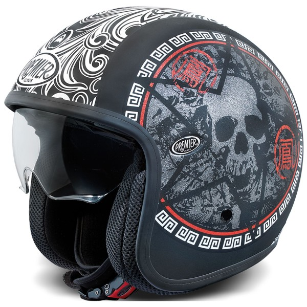 Premier Vintage Helm matt-schwarz/weiß-rot