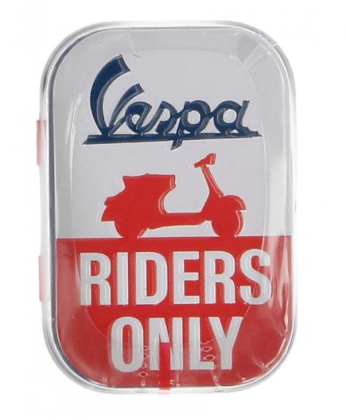 Vespa Pillendose Vespa Riders only, Blech