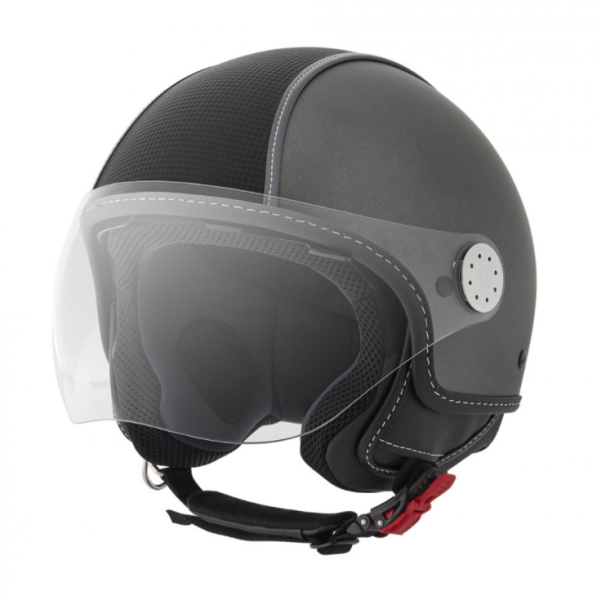 Piaggio Demi Jet Helm, Carbonskin, grau, matt