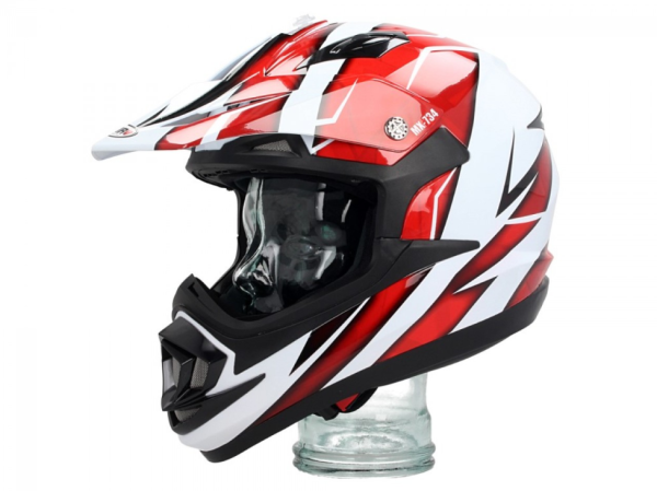 Shiro Off Road Helm, MX734, Troy, weiß, rot