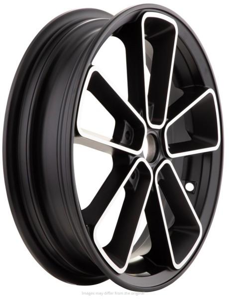 """Felge vorne/hinten 13"""" für Vespa GTS/GTS Super/GTV/GT 125-300ccm, schwarz mit silbernem Rand"""