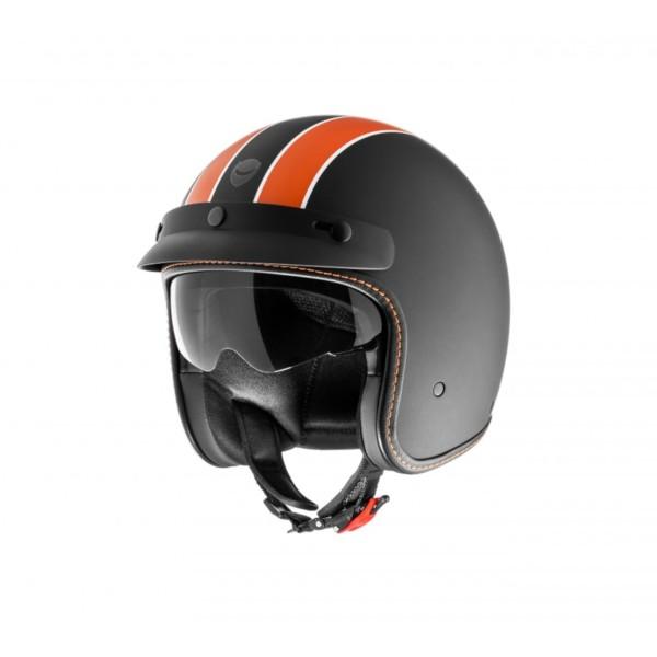 Helmo Milano Jethelm, Audace Daytona, schwarz matt, orange, matt